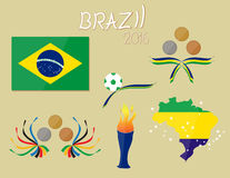Brazil flag map star game 2016 vector soccer football illustration. Design Royalty Free Stock Photo