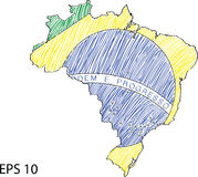 Brazil Flag Map Vector Sketch Up Royalty Free Stock Images