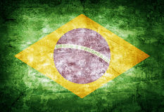 Brazil flag. Old vintage Brazil flag on dirty paper royalty free stock photography