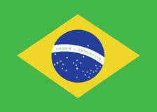 Brazil flag. Over green background Stock Photography