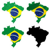 Brazil flag over map Royalty Free Stock Images