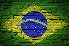 Brazil flag painted on brick wall stock image