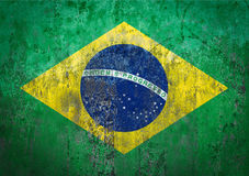 Brazil Flag painted on a Wall. Ddistressed Painting of a Flag on an old Wall Stock Photo
