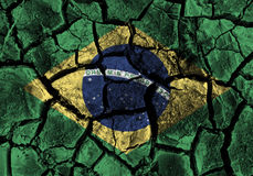 Brazil flag painting on high detail cracked ground . 3D illustration Royalty Free Stock Photos