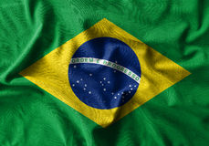 Brazil flag painting on high detail of wave cotton fabrics . 3D illustration Stock Photography