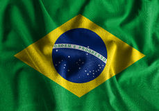 Brazil flag painting on high detail of wave cotton fabrics . 3D illustration Royalty Free Stock Photo