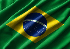 Brazil flag painting on high detail of wave cotton fabrics . 3D illustration Stock Images