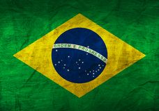 Brazil Flag on Paper. Flag on an old Paper Texture Stock Image
