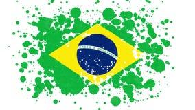 Brazil Flag Reveal With Paint Brush Splatter Mask