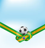 Brazil flag set with soccer ball. On background Royalty Free Stock Images
