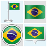 Brazil flag - set of sticker, button, label Royalty Free Stock Images