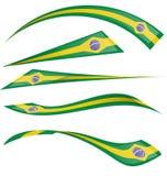 Brazil flag set. On white background Royalty Free Stock Photo