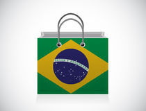 Brazil flag shopping bag illustration design Royalty Free Stock Image