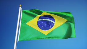Brazil flag in slow motion seamlessly looped with alpha stock video