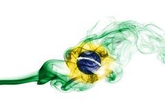 Brazil flag smoke. Isolated on a white background stock photo