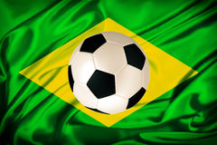 Brazil flag. With soccer ball Stock Images