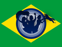 Brazil Flag with Soccer Ball Background Stock Image