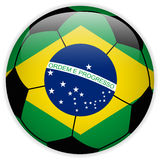 Brazil Flag with Soccer Ball Background Royalty Free Stock Photography