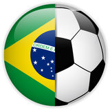 Brazil Flag with Soccer Ball Background Stock Photo