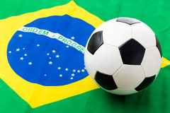 Brazil flag and soccer ball Royalty Free Stock Photography