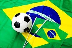 Brazil Flag and soccer ball Stock Photos
