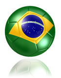 Brazil flag on soccer ball on white background Royalty Free Stock Images