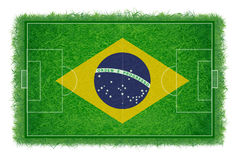 Brazil flag on soccer field with realistic grass texture, Vector & illustration. Brazil flag on soccer field with realistic grass texture, Vector illustration Royalty Free Stock Photos