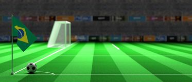 Brazil flag on a soccer field. 3d illustration. Brazil flag on a soccer football field. 3d illustration Royalty Free Stock Photo