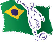 Brazil flag and soccer player. Hand drawn styled football player with brazilian flag Royalty Free Stock Images
