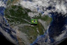 Brazil flag text on globe Stock Photos