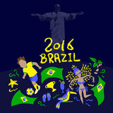 Brazil flag with 2016 text Stock Photography