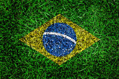 Brazil flag texture on green grass in the garden for background Stock Photos