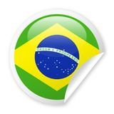 Brazil Flag Vector Round Corner Paper Icon. Illustration Royalty Free Stock Photo