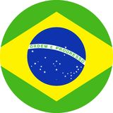 Brazil Flag Vector Round Flat Icon. Illustration Stock Images