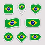 Brazil flag vector set. Brazilian national flags stickers collection. Vector isolated geometric icons. Web, sports pages, patrioti vector illustration