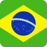 Brazil Flag Vector Square Flat Icon. Illustration Royalty Free Stock Photos