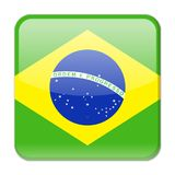 Brazil Flag Vector Square Icon. Illustration Royalty Free Stock Images