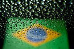 Brazil flag. In waterdroplet reflection Stock Images
