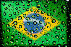 Brazil flag. In waterdroplet reflection Royalty Free Stock Photography