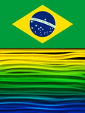Brazil Flag Wave Yellow Green Blue Background Stock Photos