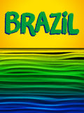 Brazil Flag Wave Yellow Green Blue Background. Vector - Brazil Flag Wave Yellow Green Blue Background Royalty Free Stock Photos