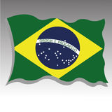 Brazil flag. Waving on gradient gray background Royalty Free Stock Photography