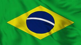 Brazil flag waving in the wind. A high-quality footage of 3D flag fabric surface background animation.