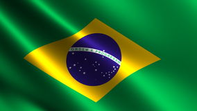 Brazil flag waving in the wind stock footage