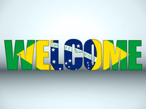 Brazil Flag Welcome Soccer Letters Background. Vector - Brazil Flag Welcome Soccer Letters Background Royalty Free Stock Photos