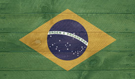 Brazil flag on wood boards with nails Royalty Free Stock Images
