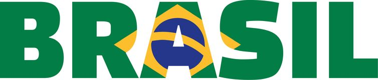 Brazil flag word Brasil. Vector royalty free illustration