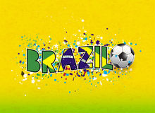 Brazil flag in word header design on grunge texture background,  & illustration Royalty Free Stock Image
