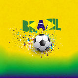 Brazil flag in word header design & soccer ball on grungetexture background,  & illustration Royalty Free Stock Images
