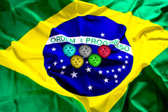 Brazil flag with zika virus that form the Olympic emblem. 2016 Stock Images